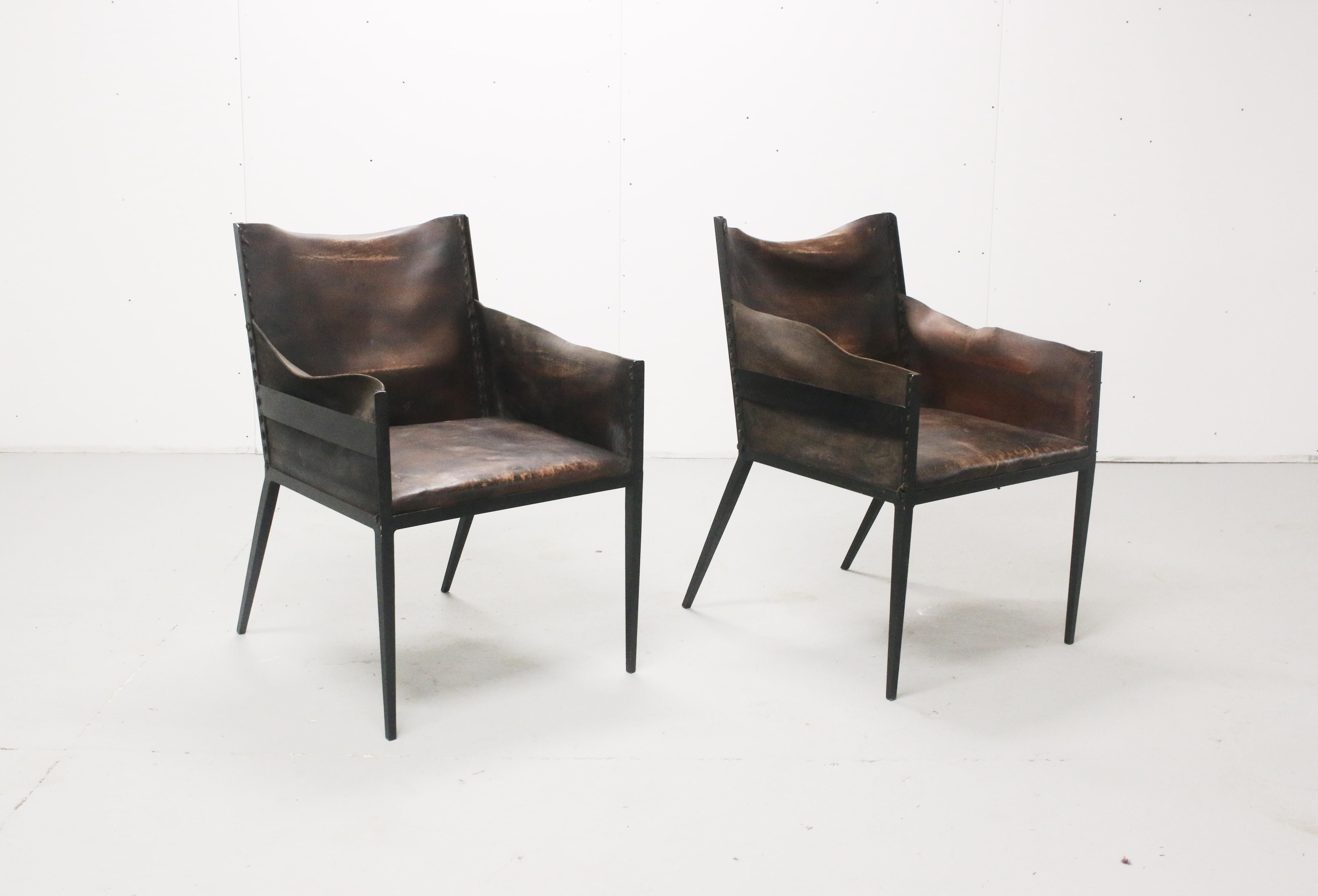 Iron And Leather Chairs, In The Manner Of Jean Michel Frank, France.