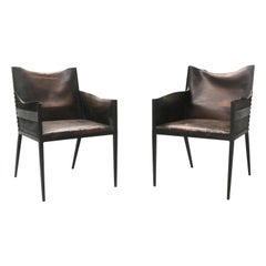 Iron and Leather Chairs, in the Manner of Jean-Michel Frank, France