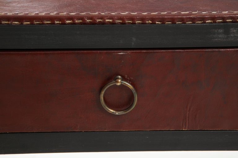 Iron and Leather Desk/ Console on Tapered Legs in the Jean Michel Frank Manner For Sale 8