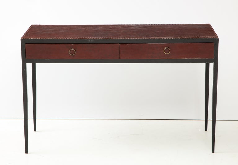 French Iron and Leather Desk/ Console on Tapered Legs in the Jean Michel Frank Manner For Sale