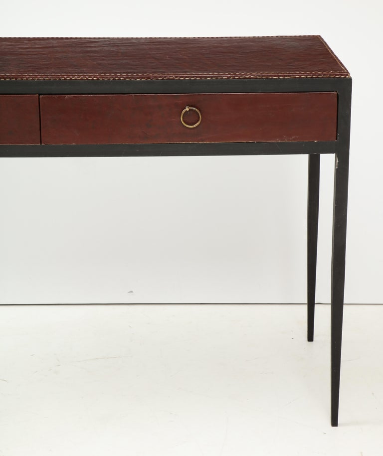 Iron and Leather Desk/ Console on Tapered Legs in the Jean Michel Frank Manner In Excellent Condition For Sale In New York, NY