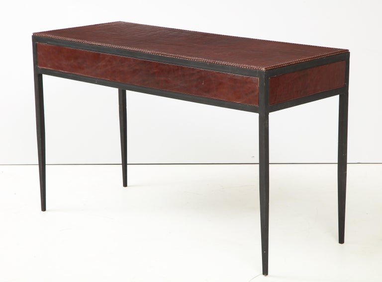 20th Century Iron and Leather Desk/ Console on Tapered Legs in the Jean Michel Frank Manner For Sale