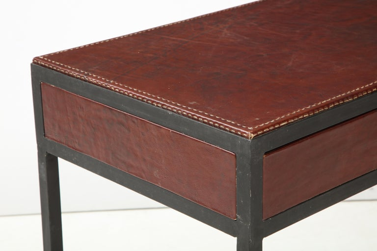 Iron and Leather Desk/ Console on Tapered Legs in the Jean Michel Frank Manner For Sale 1