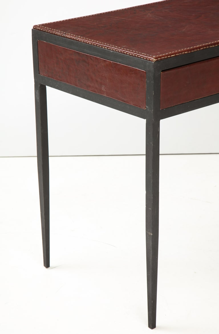 Iron and Leather Desk/ Console on Tapered Legs in the Jean Michel Frank Manner For Sale 2