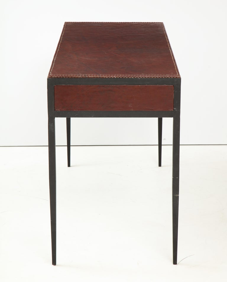 Iron and Leather Desk/ Console on Tapered Legs in the Jean Michel Frank Manner For Sale 3