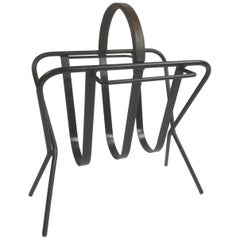 Iron and Leather Magazine Rack in a Manner of Jacques Adnet, France, 1950s