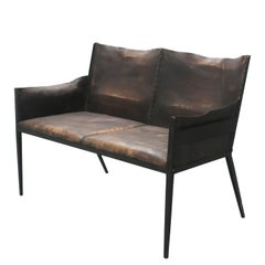 Iron and Leather Settee, in the Manner of Jean-Michel Frank, France