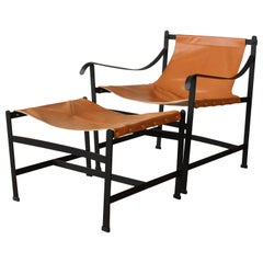Iron and Leather Sling Chair in the Manner of William Katavolos, USA, 1960s