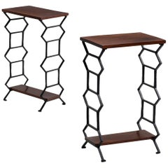Iron and Mahogany Bedside Tables