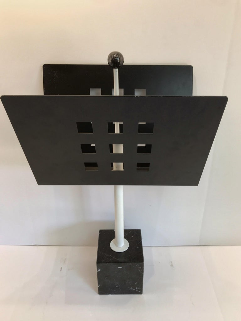 20th Century Iron and Marble Magazine Rack, in the Manner of Josef Hoffmann For Sale