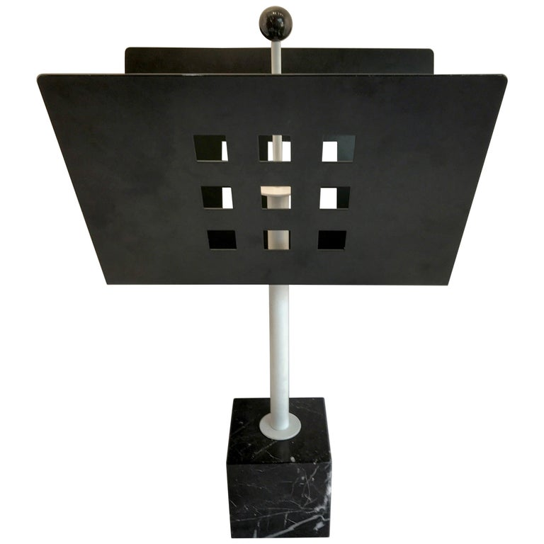 Iron and Marble Magazine Rack, in the Manner of Josef Hoffmann For Sale