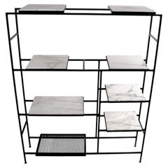 Iron and Marble Shelf with Adjustable Shelves Att. to Weinberg