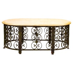 Iron and Marble-Top Coffee Table