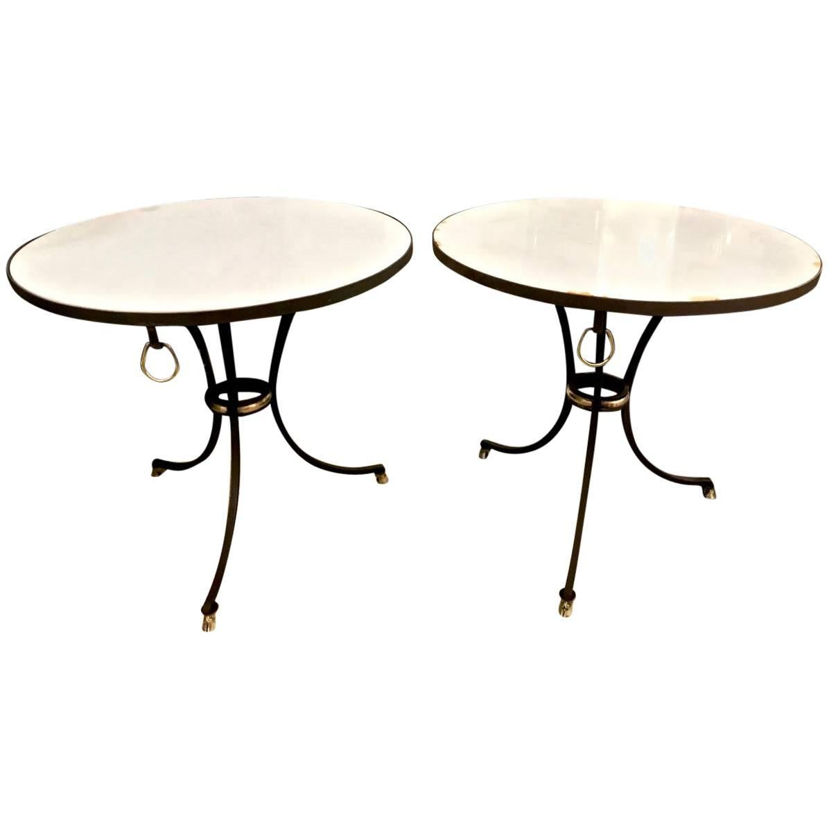 Iron and Marble-Top Gueridons or Side Tables, Pair