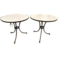 Iron and Marble-Top Jansen-Style Gueridons or Side Tables, Pair