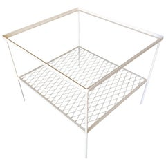 Iron and Mesh Low Outdoor/Patio Cube Coffee Table with Glass Top by Woodard
