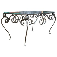 Iron and Mirror Top Coffee Table, circa 1940