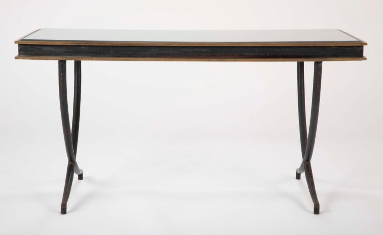 Mid-Century Modern Iron and Polished Bronze Coffee Table in the Manner of Andre Arbus For Sale