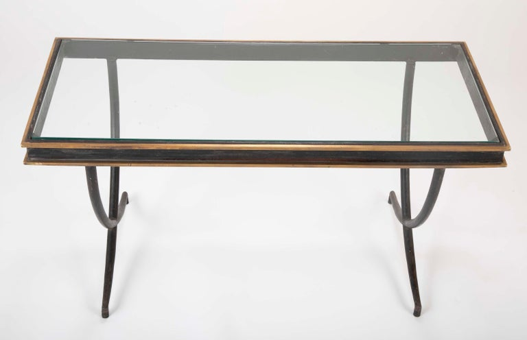 Iron and Polished Bronze Coffee Table in the Manner of Andre Arbus In Good Condition For Sale In Stamford, CT