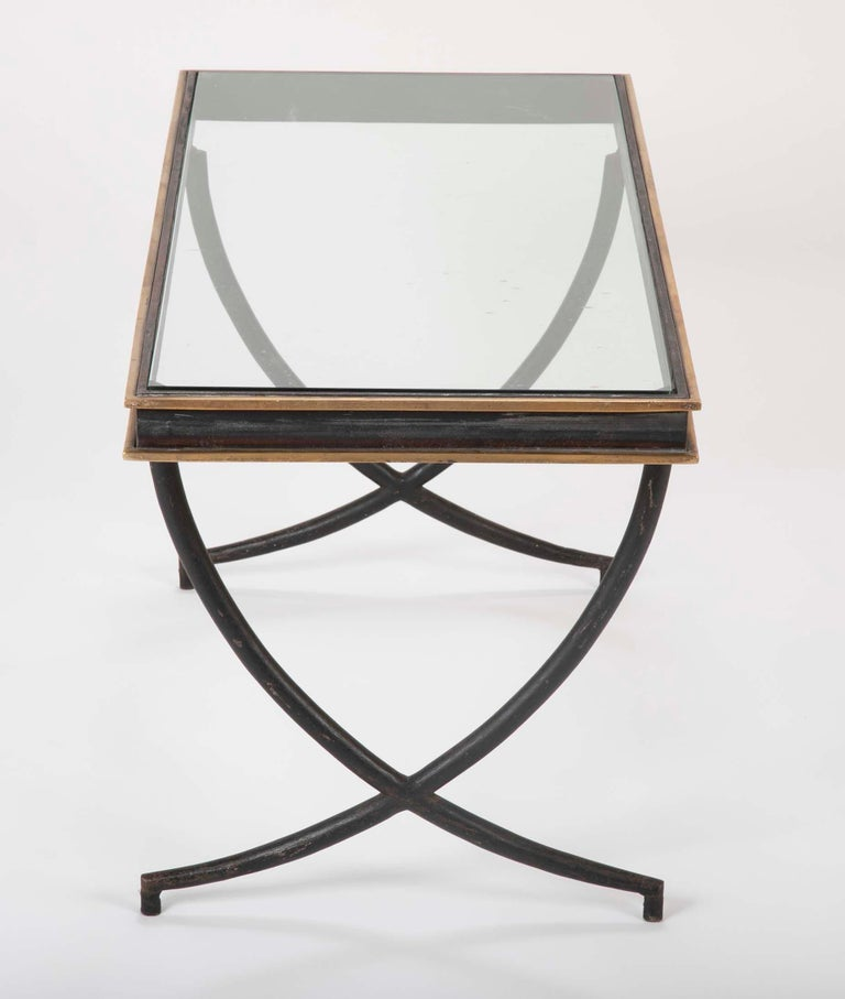 Mid-20th Century Iron and Polished Bronze Coffee Table in the Manner of Andre Arbus For Sale