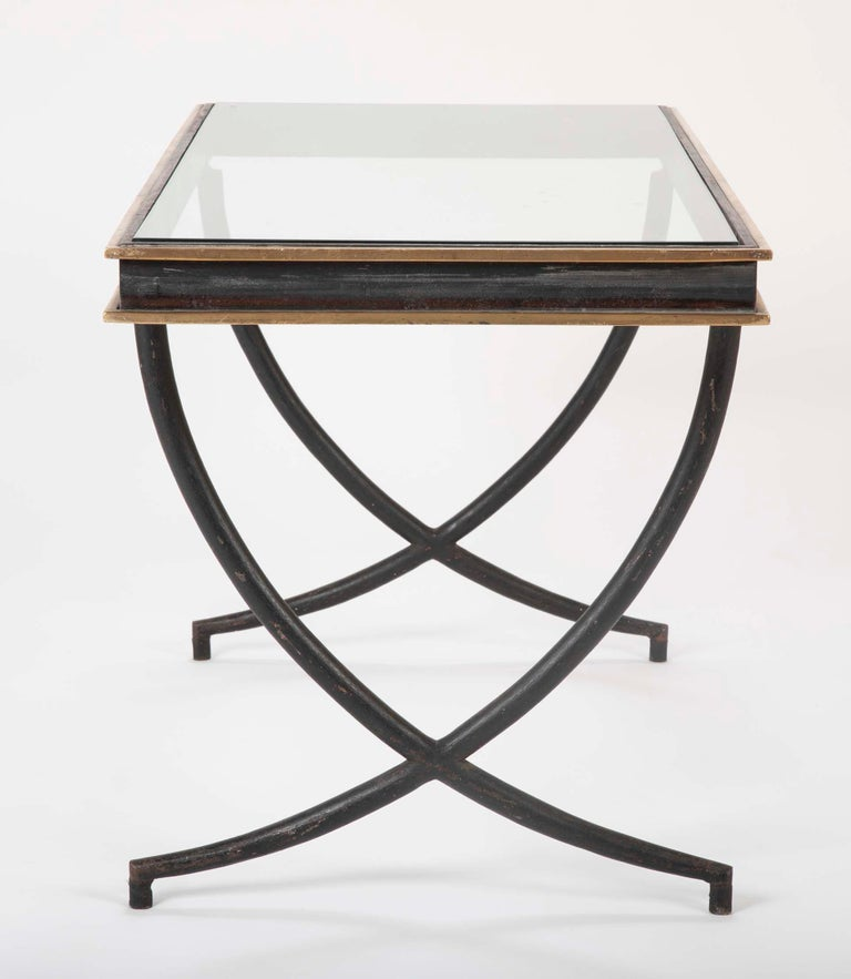 Iron and Polished Bronze Coffee Table in the Manner of Andre Arbus For Sale 1