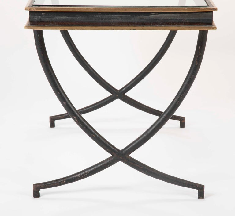 Iron and Polished Bronze Coffee Table in the Manner of Andre Arbus For Sale 2