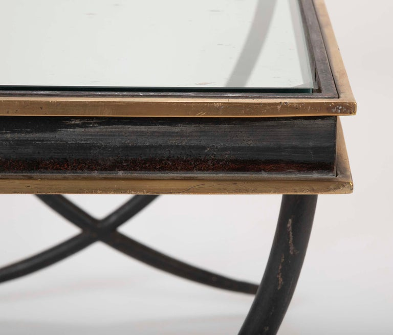 Iron and Polished Bronze Coffee Table in the Manner of Andre Arbus For Sale 3