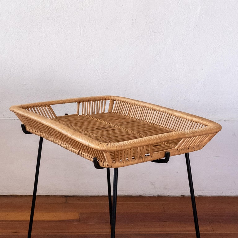 Mid-Century Modern Iron and Rattan Tray Table Midcentury For Sale