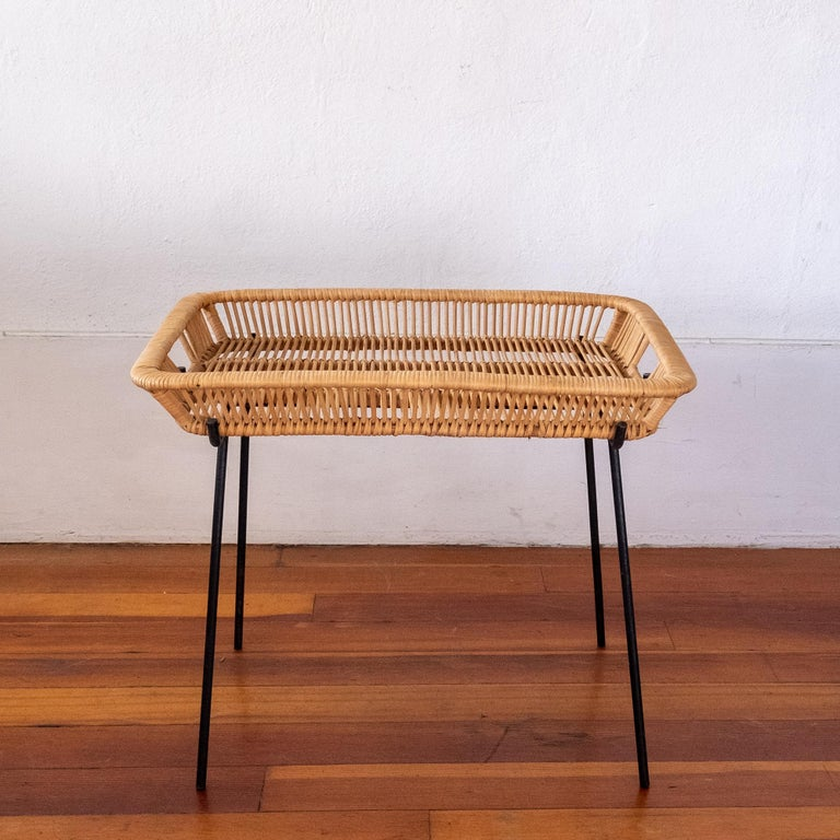 American Iron and Rattan Tray Table Midcentury For Sale