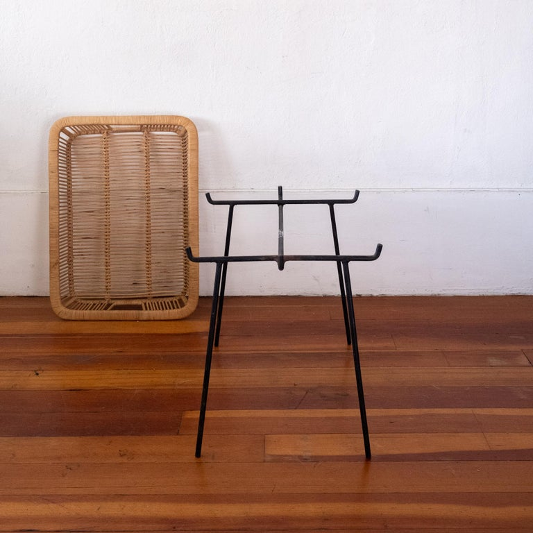 Mid-20th Century Iron and Rattan Tray Table Midcentury For Sale