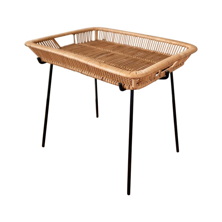Iron and Rattan Tray Table Midcentury For Sale