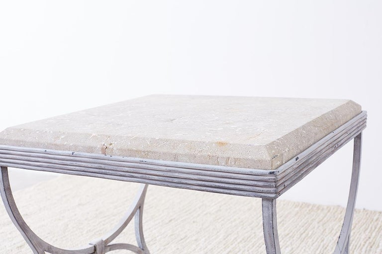 Iron and Stone Patio Garden Drinks Table For Sale 3