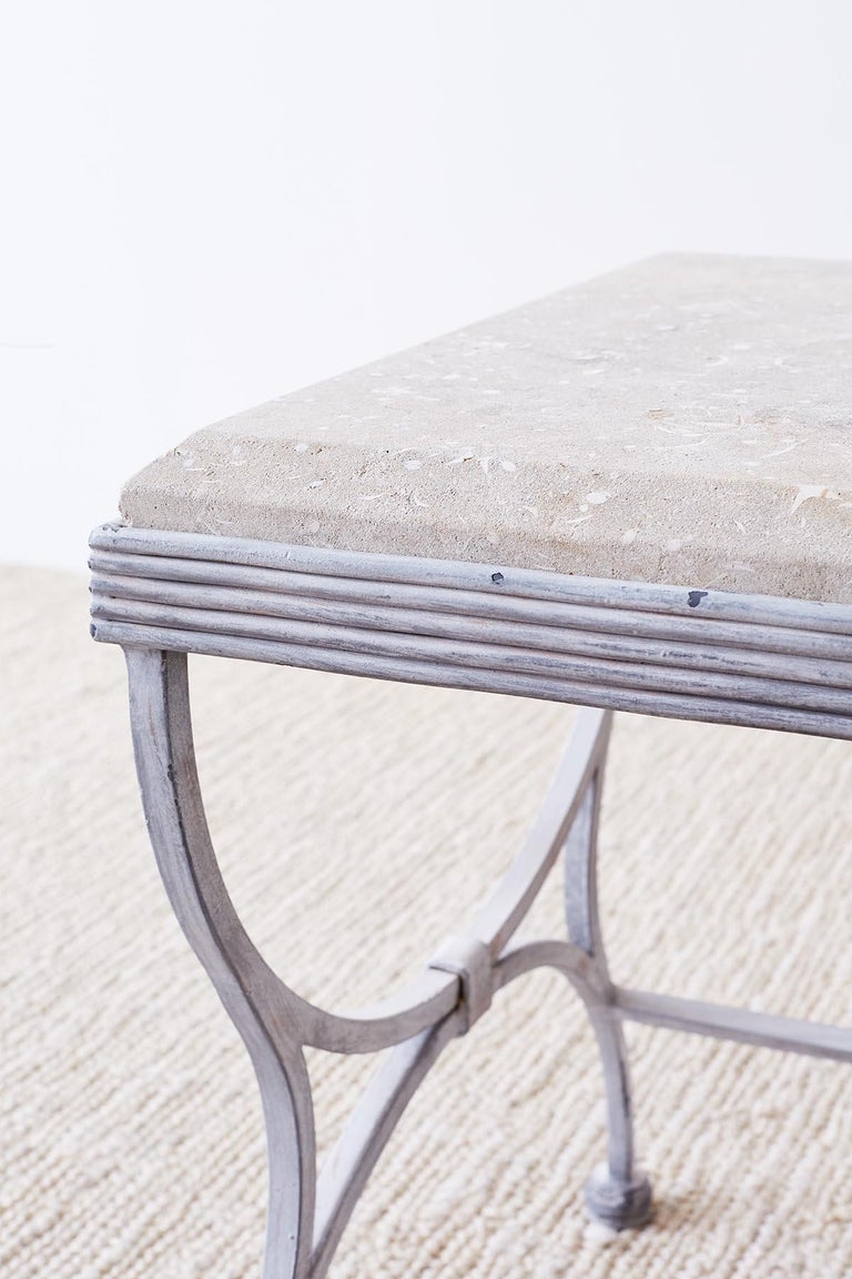 Iron and Stone Patio Garden Drinks Table For Sale 5
