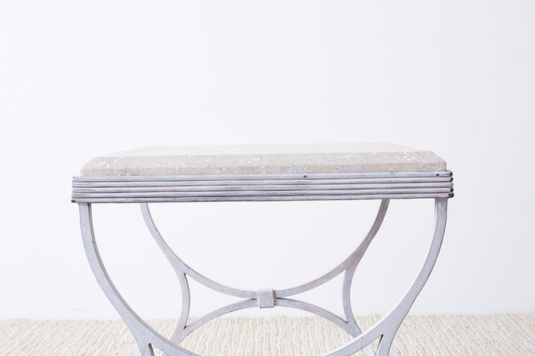 Neoclassical Iron and Stone Patio Garden Drinks Table For Sale