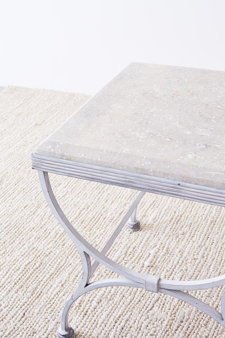American Iron and Stone Patio Garden Drinks Table For Sale