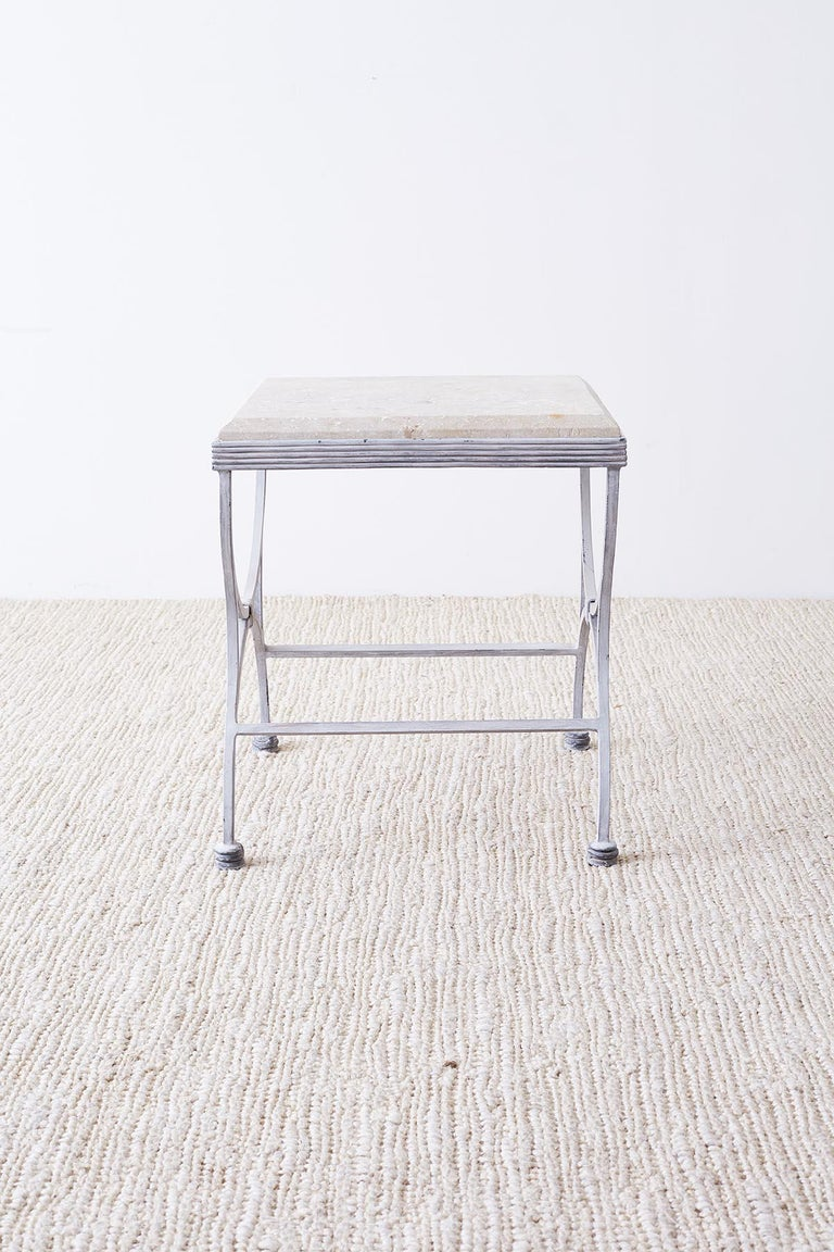 20th Century Iron and Stone Patio Garden Drinks Table For Sale