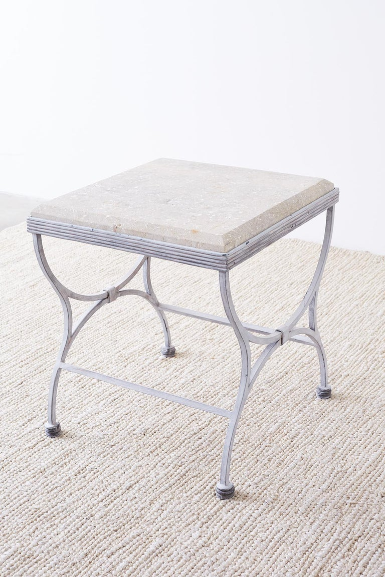 Iron and Stone Patio Garden Drinks Table For Sale 1