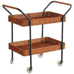 Iron and Wicker Bar Cart Trolley