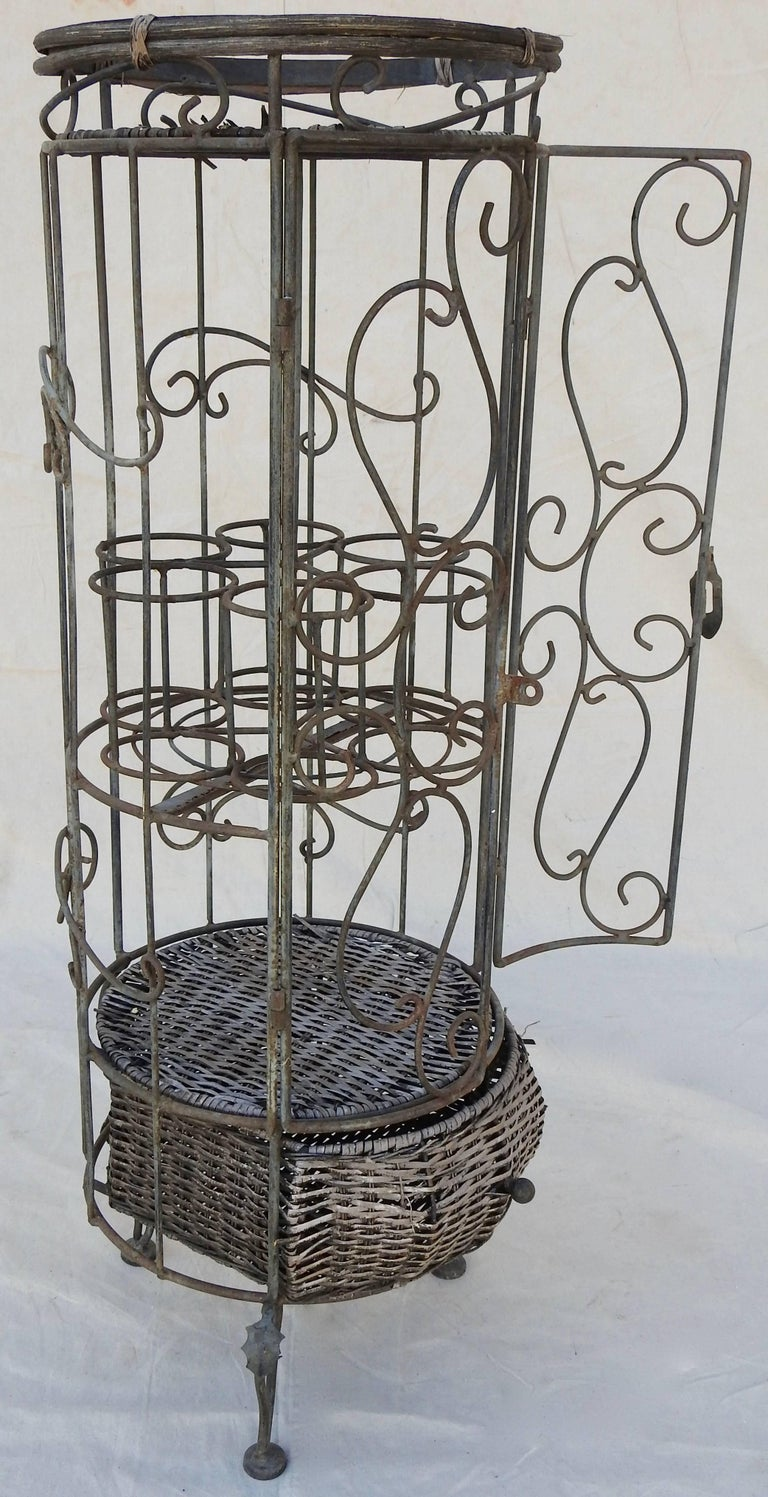 Iron and Wicker Wine Rack, 20th Century For Sale 4