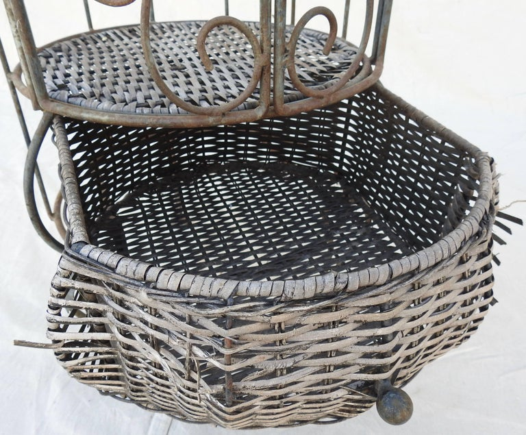 Iron and Wicker Wine Rack, 20th Century For Sale 8