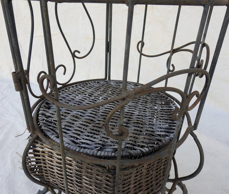 Iron and Wicker Wine Rack, 20th Century For Sale 10
