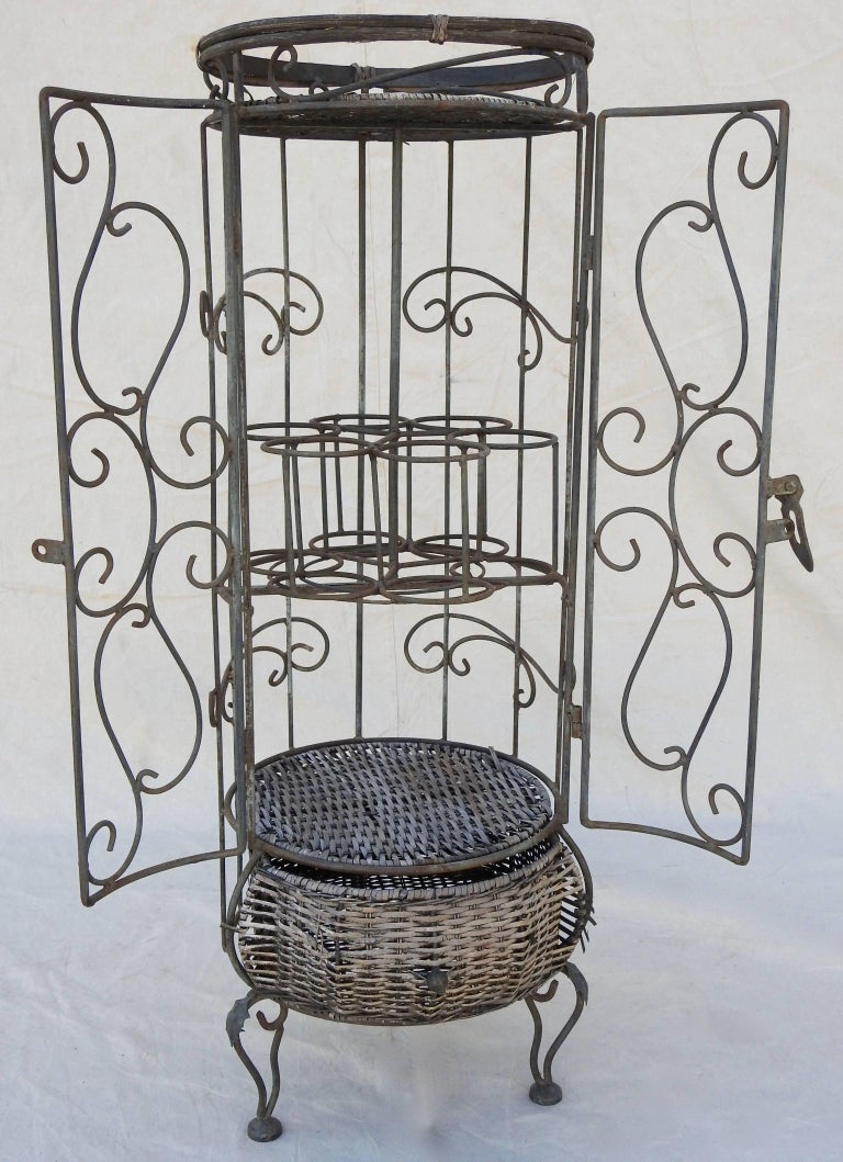 French Iron and Wicker Wine Rack, 20th Century For Sale