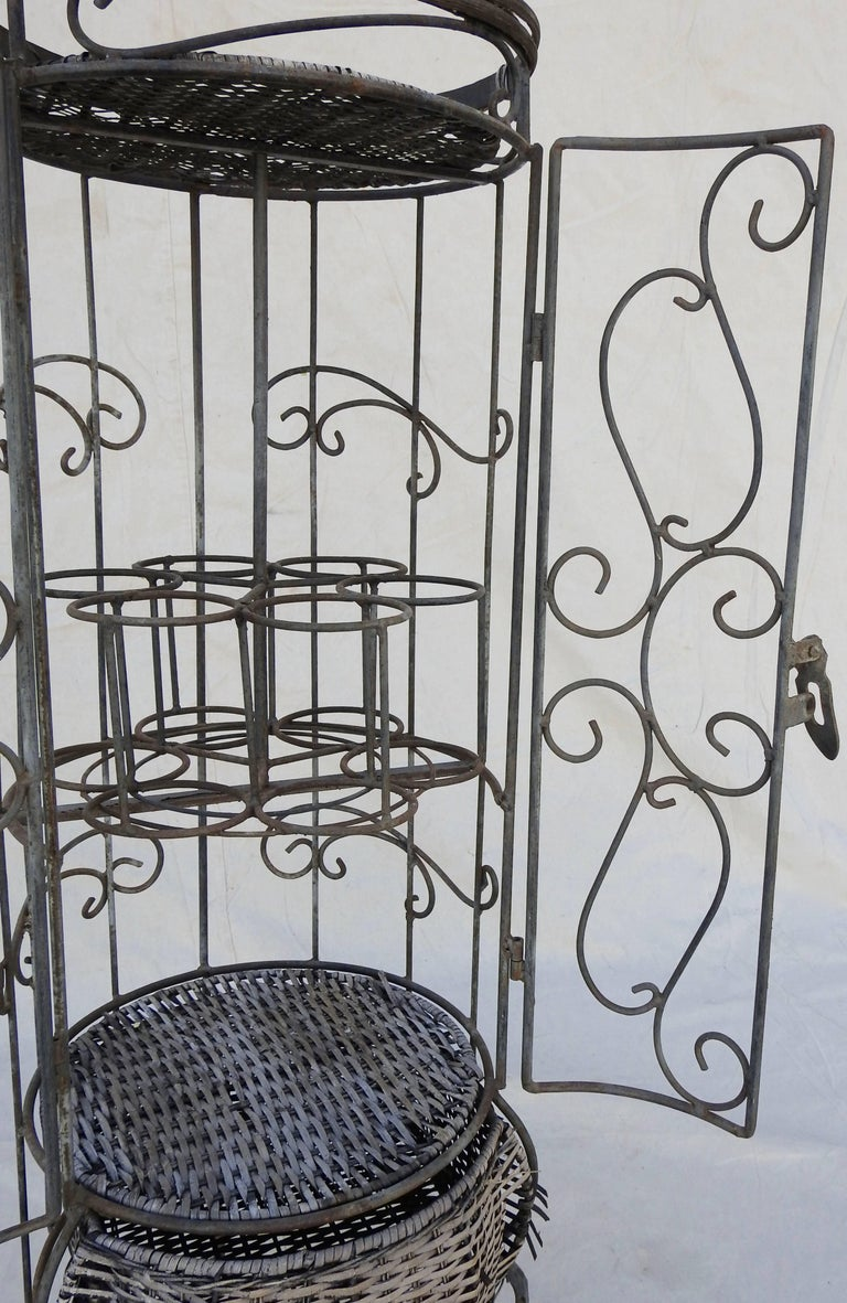 Hand-Crafted Iron and Wicker Wine Rack, 20th Century For Sale