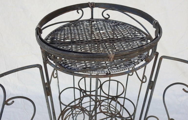 Iron and Wicker Wine Rack, 20th Century In Fair Condition For Sale In Cookeville, TN