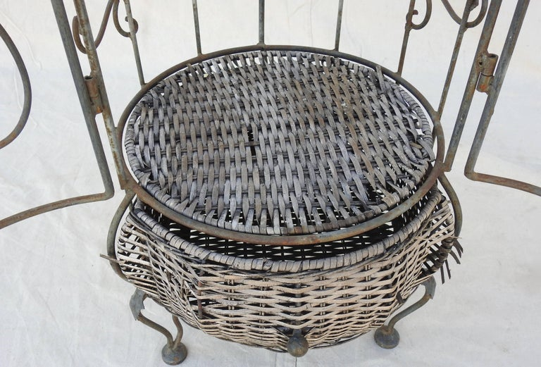 Iron and Wicker Wine Rack, 20th Century For Sale 1