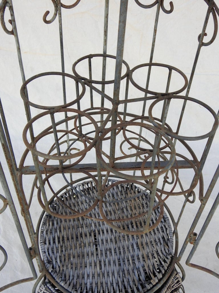 Iron and Wicker Wine Rack, 20th Century For Sale 2