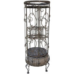 Iron and Wicker Wine Rack, 20th Century