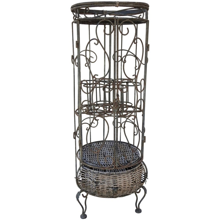 Iron and Wicker Wine Rack, 20th Century For Sale