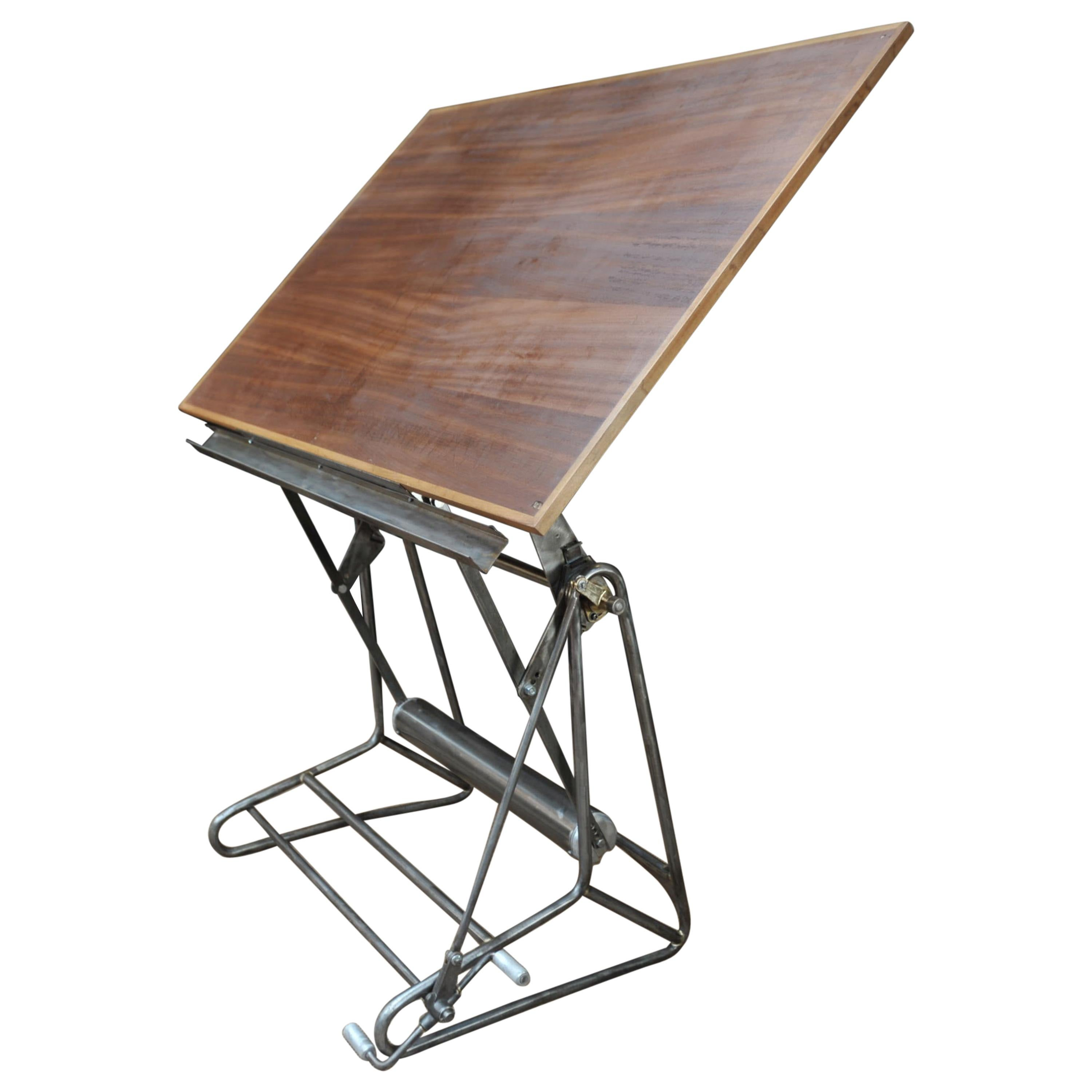 Iron and Wood Adjustable Architect's Drafting Desk Table, 1905s