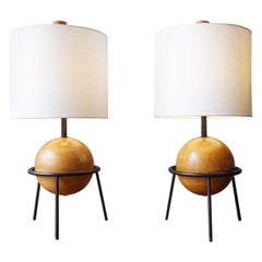 Iron and Wood Albert Blake Table Lamps